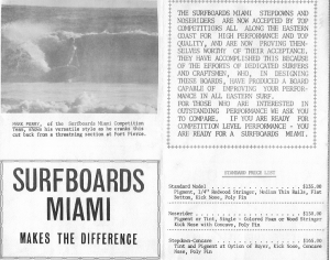 Surfboards Miami Price Brochure featuring Mark Perry at Ft. Pierce.