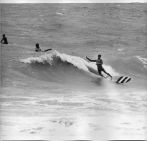 "Mark Perry, April 1967, South Beach, Miami. ""Slipcheck"" on nose of the board."