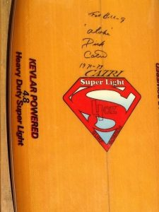 "1970's ""Super Light"" Kevlar board by Dick Catri, shaped by Robinson."