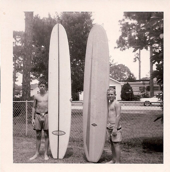 Eddie Legge and Doug Moore with their first surfboards. Rockledge FL 1966
